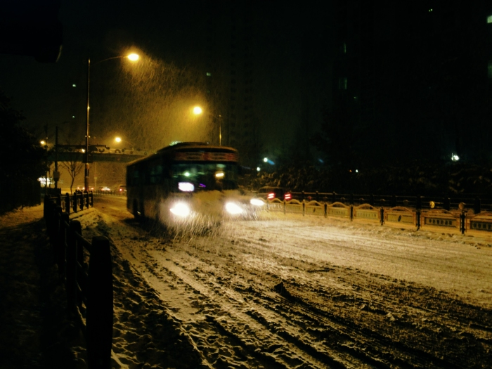 buses in the snow