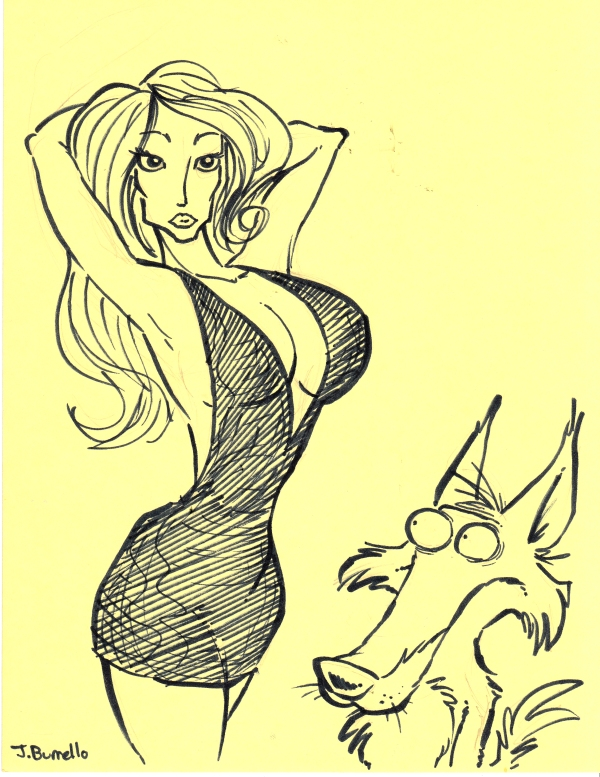 lady and wolf