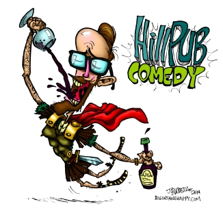 Promotional illustration for Hill Pub comedy show.  https://www.facebook.com/events/431457230317395/