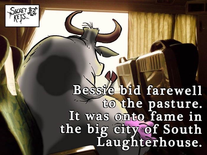 cow on train caption