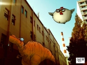 dinosaur in street under chicken 2